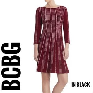 BCBG Maxazria Victoria Long Sleeve A-Line Dress